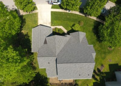 American Choice Exterior - Rockville, MD - Drone Image of Full Roof Replacement