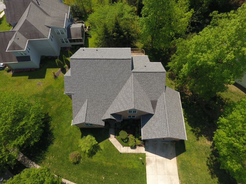 the rooftop of a house in Maryland from a drone